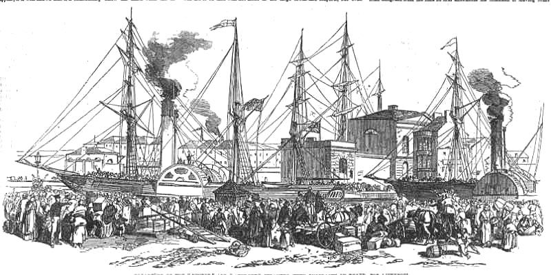 People waiting to board a ship to take them to the New World